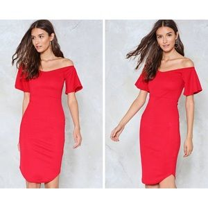 NWT Nasty Gal Red Off-the-Shoulder Bodycon Dress